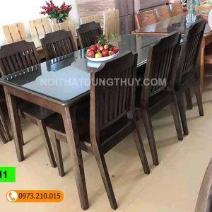 Bàn ăn 6 ghế chữ nhật chân nhỏ gỗ sồi Nga BA11
