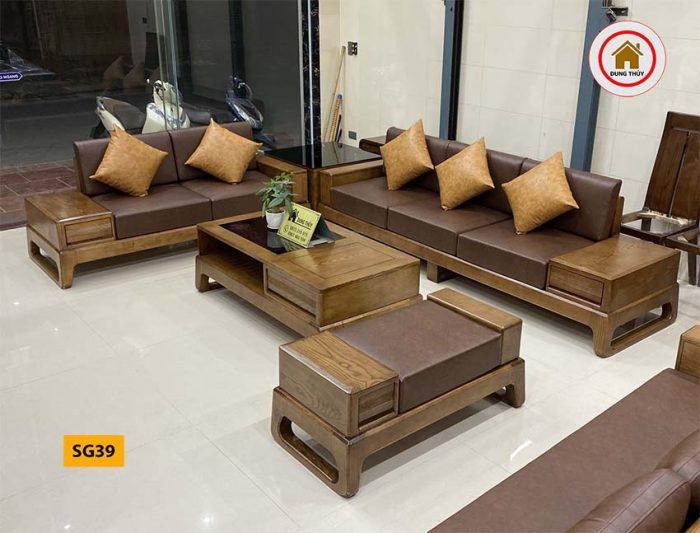 sofa 2 văng chân quỳ gỗ soi SG39