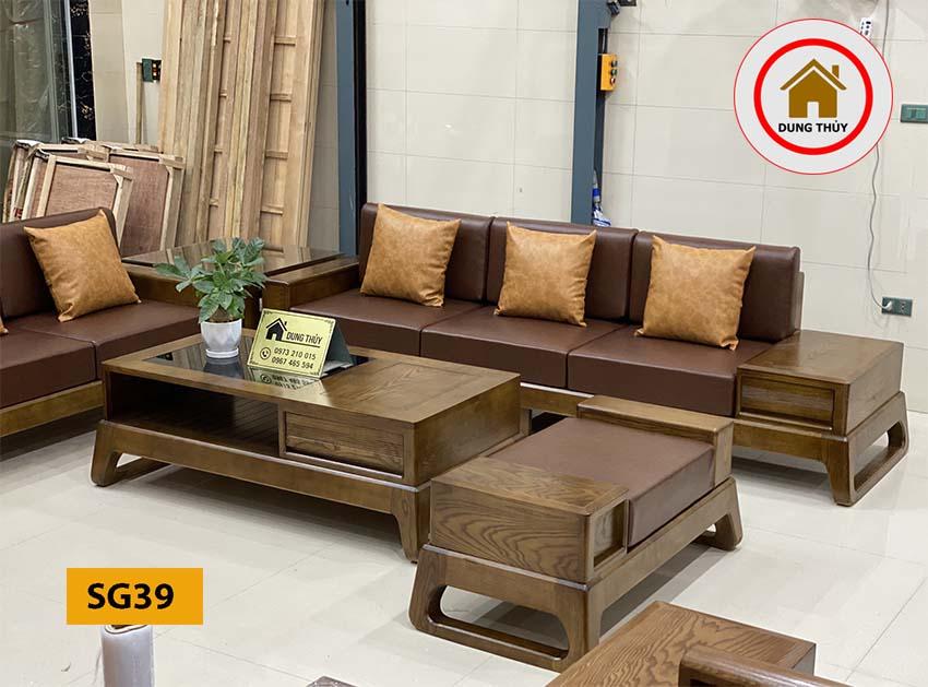 sofa 2 văng chân quỳ gỗ sồi Nga SG39 xịn