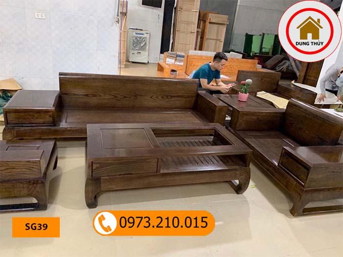Bộ ghế sofa 2 văng chân vuông chữ U gỗ sồi Nga SG39