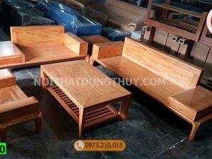 Bộ ghế sofa 2 văng chân cong gỗ gõ đỏ SG40