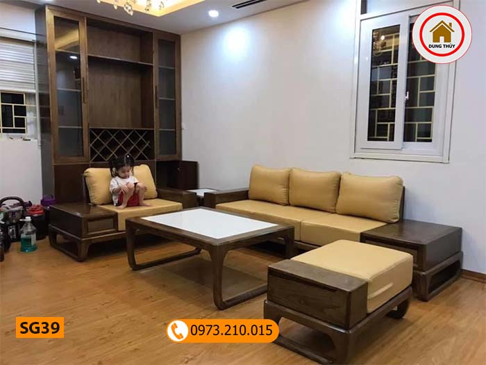 Bộ ghế sofa 2 văng chân vuông gỗ sồi Nga SG39