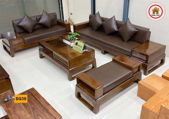 Bộ ghế sofa 2 văng chân quỳ chữ U gỗ sồi Nga SG39