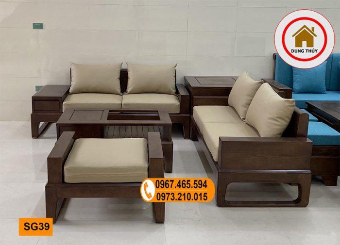 sofa 2 văng chân quỳ gỗ sồi SG39