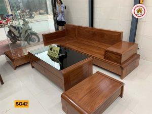 Bộ ghế sofa góc chân cuốn gỗ xoan đào SG42