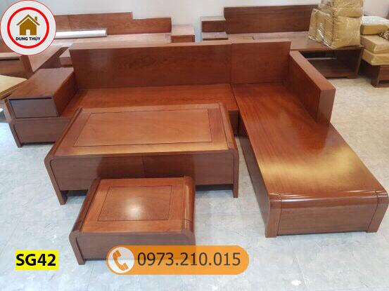 Bộ ghế sofa góc chân cong bàn cong gỗ xoan đào SG42