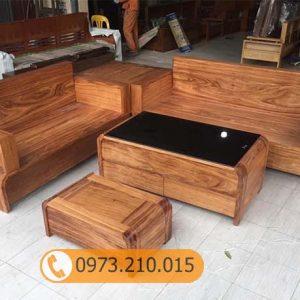 Bộ ghế sofa 2 văng chân cong gỗ hương xám cao cấp SG43