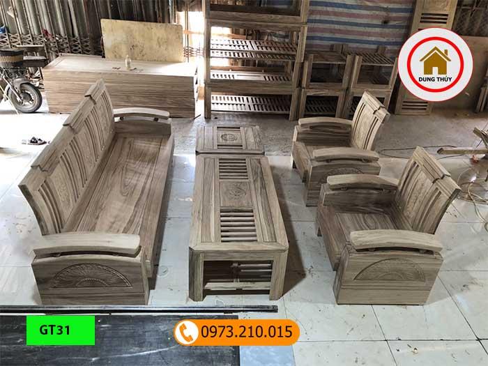 Bộ ghế đối tay cong gỗ hương xám GT31