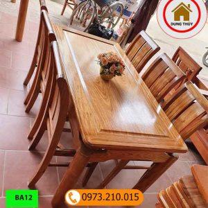 Bàn ăn hình chữ nhật 6 ghế gỗ hương xám BA12