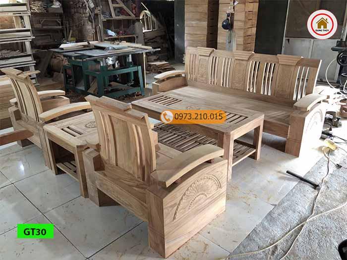 Bộ ghế đối tay cong gỗ gõ đỏ GT30