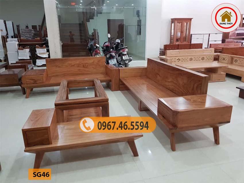 Bộ ghế sofa 2 văng chân oải gỗ hương xám SG46