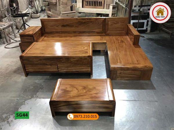 Bộ ghế sofa chân cuốn gỗ hương xám cao cấp SG44