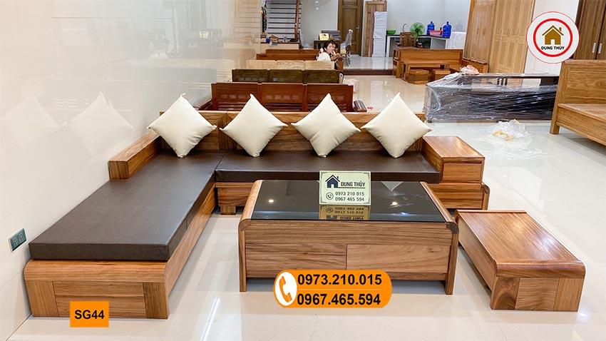sofa chân cuốn gỗ hương xám SG44