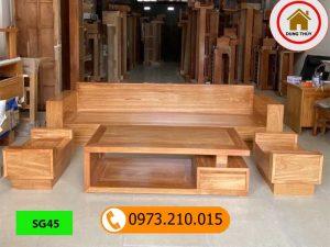 Bộ ghế sofa góc chữ U gỗ gõ đỏ SG45