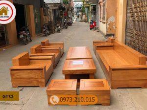 Bộ ghế đối tay vuông 9 món gỗ gõ đỏ Pachy cao cấp GT32