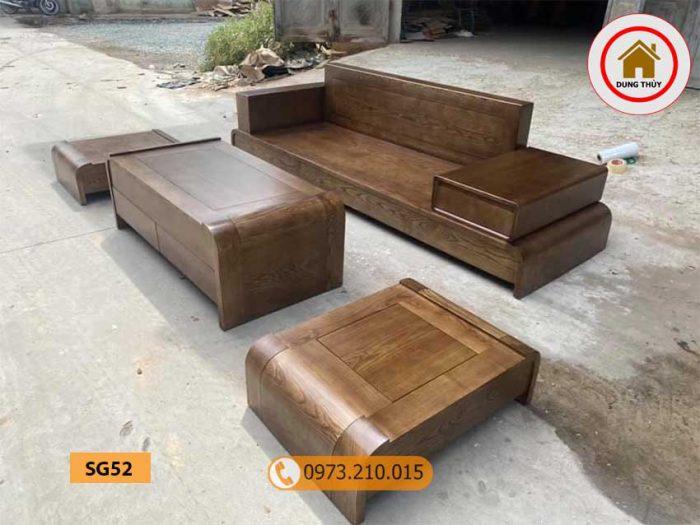 Bộ ghế sofa 1 văng 1 bàn nhỏ gọn gỗ sồi Nga SG52