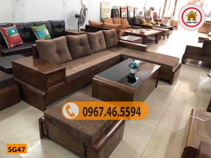 Bộ ghế sofa chân cuốn gỗ sồi Nga SG47