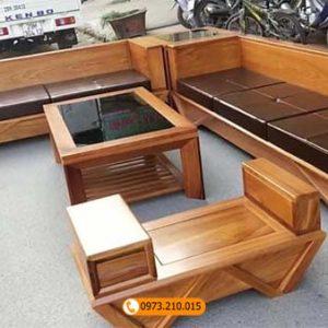 Bộ ghế sofa 2 văng chân vát gỗ gõ đỏ SG51