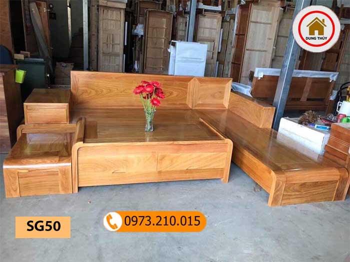 Bộ ghế sofa chân cuốn gỗ gõ đỏ SG50