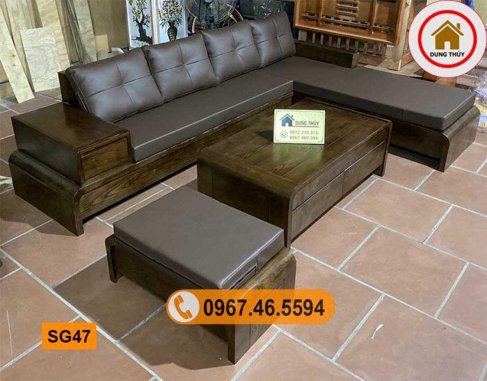 sofa chân cuốn gỗ sồi Nga SG47