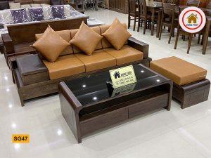 sofa chân cuốn văng SG47 gỗ sồi Nga