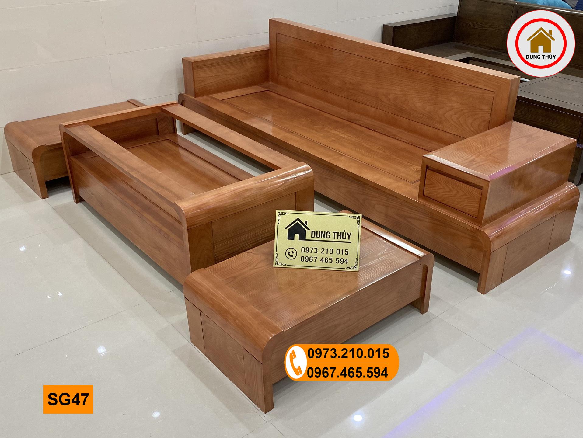 sofa chân cuốn gỗ sồi Nga màu xoan đào SG47