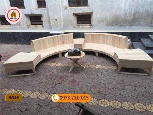 Bộ ghế sofa hình vòng cung gỗ sồi Nga SG49