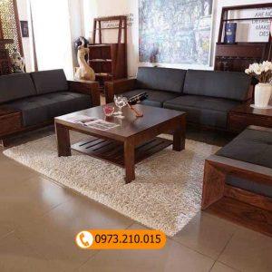 Bộ ghế sofa 2 văng chân đứng vuông gỗ sồi Nga SG56