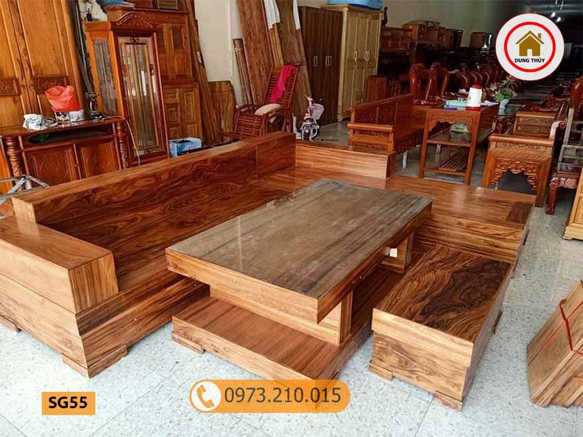 Bộ ghế sofa hộp giả nguyên khối gỗ hương xám SG55