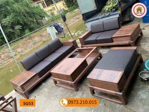 Bộ ghế sofa 2 văng chân quỳ chữ U gỗ óc chó SG53