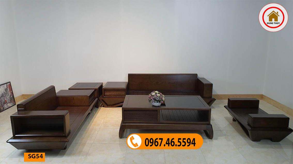 Bộ ghế sofa 2 văng chân vát gỗ óc chó SG54