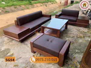 Bộ ghế sofa 2 văng chân vát gỗ sồi Nga SG54