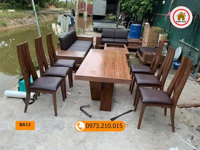 Top các mẫu bộ bàn ghế ăn bằng gỗ tự nhiên đơn giản 2002