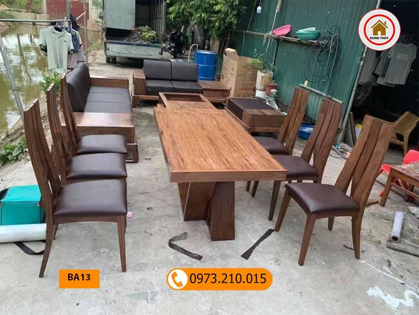 Bộ bàn ăn hình chữ nhật 6 ghế gỗ óc chó BA13
