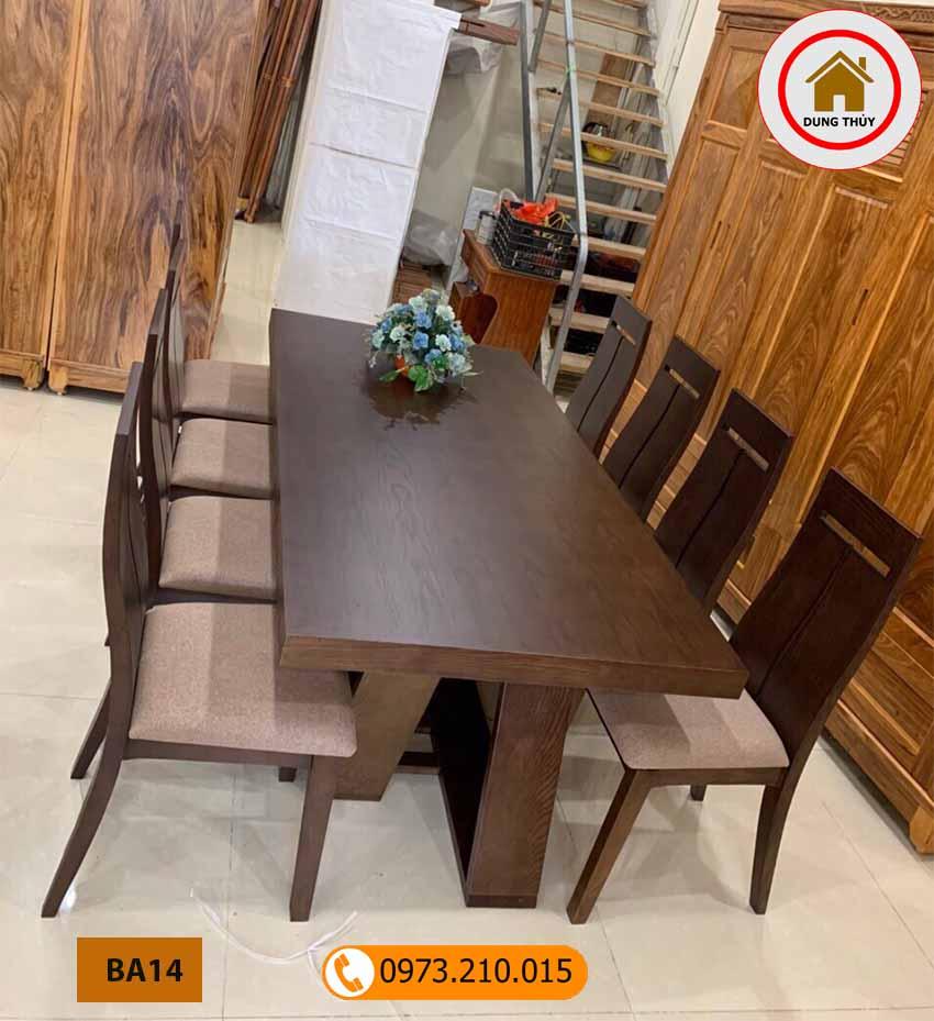 Bàn ăn 8 ghế mặt bàn liền hình chữ nhật gỗ sồi Nga BA14