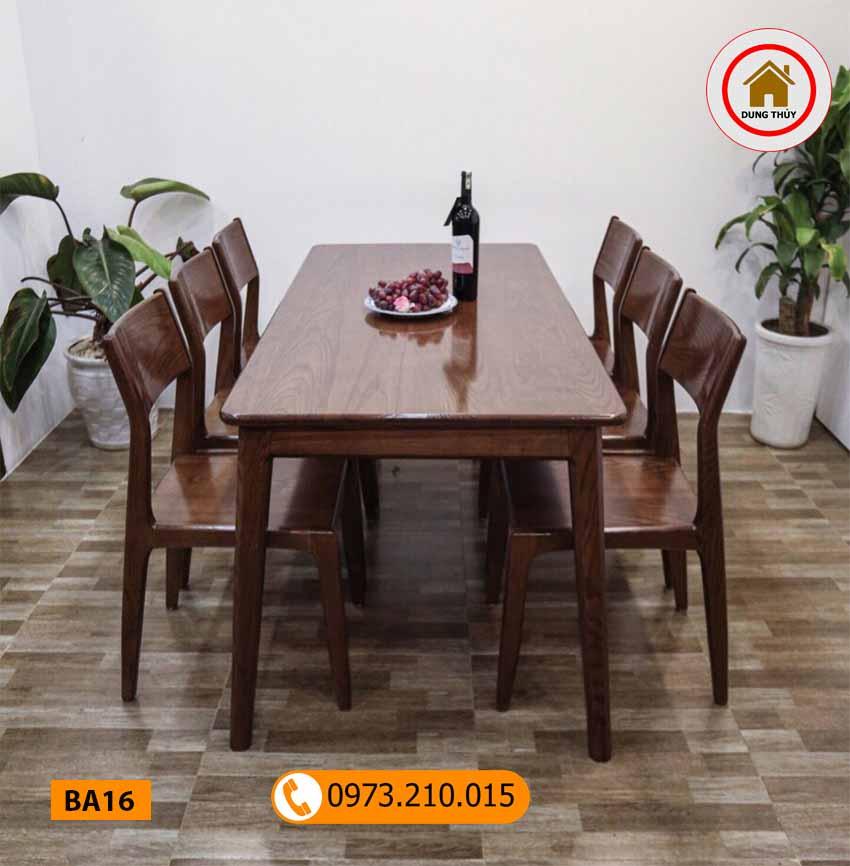 Bộ bàn ăn 6 ghế mặt chữ nhật gỗ me tây BA16
