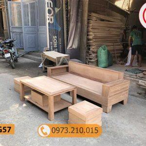 Combo ghế sofa kèm bàn nhỏ gọn gỗ xoan đào SG57