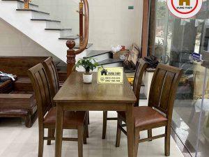 Bộ bàn ăn 4 ghế mặt bàn chữ nhật gỗ sồi Nga BA17
