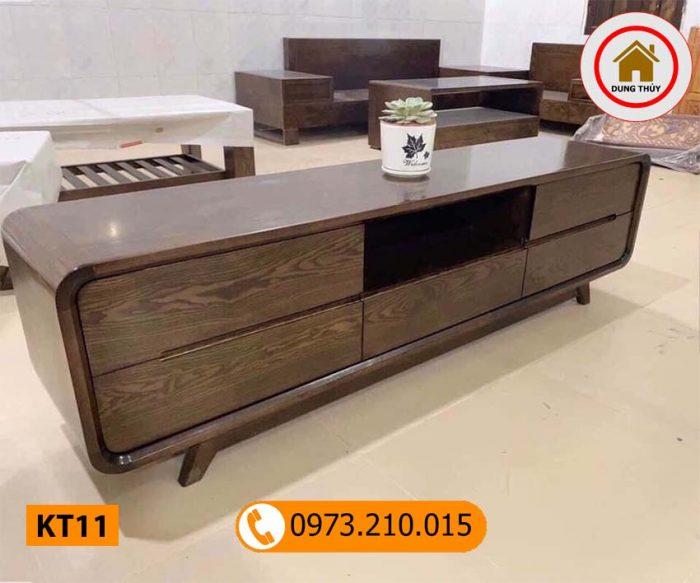 Kệ tivi chân oải 5 ngăn kéo gỗ sồi Nga KT11