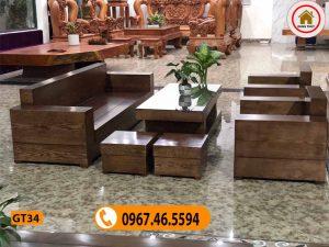 Bộ ghế đối hộp tay vuông gỗ sồi Nga GT34