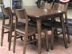 Bộ bàn ăn 4 ghế gỗ óc chó mặt chữ nhật BA23