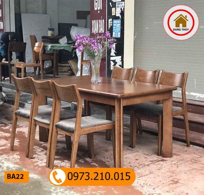 Bộ bàn ăn 6 ghế gỗ óc chó mặt chữ nhật BA22