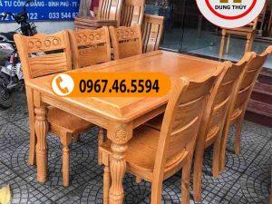 Bộ bàn ăn 6 ghế hoa văn mặt chữ nhật gỗ sồi Nga BA24