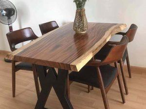Bộ bàn ăn nguyên tấm 4 ghế gỗ me tây BA20