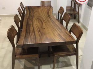 Bộ bàn ăn nguyên tấm 8 ghế gỗ me tây BA19