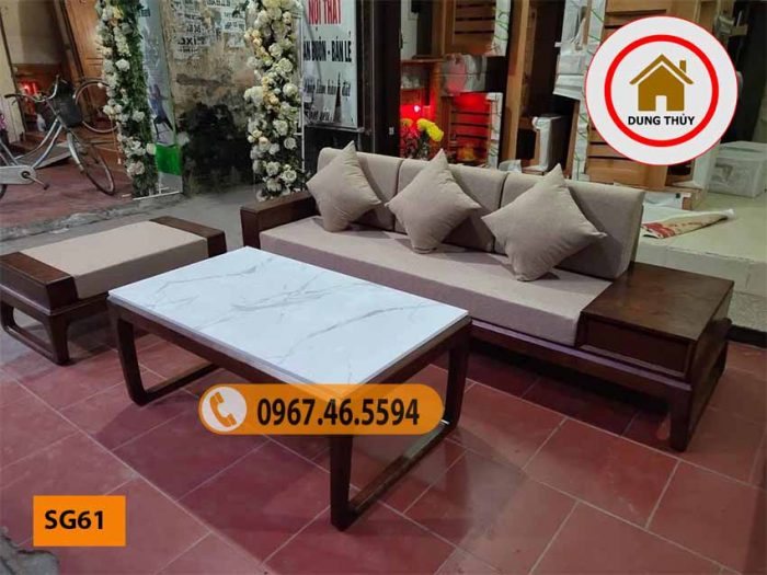 bàn ghế sofa gỗ cho phòng khách nhỏ SG61