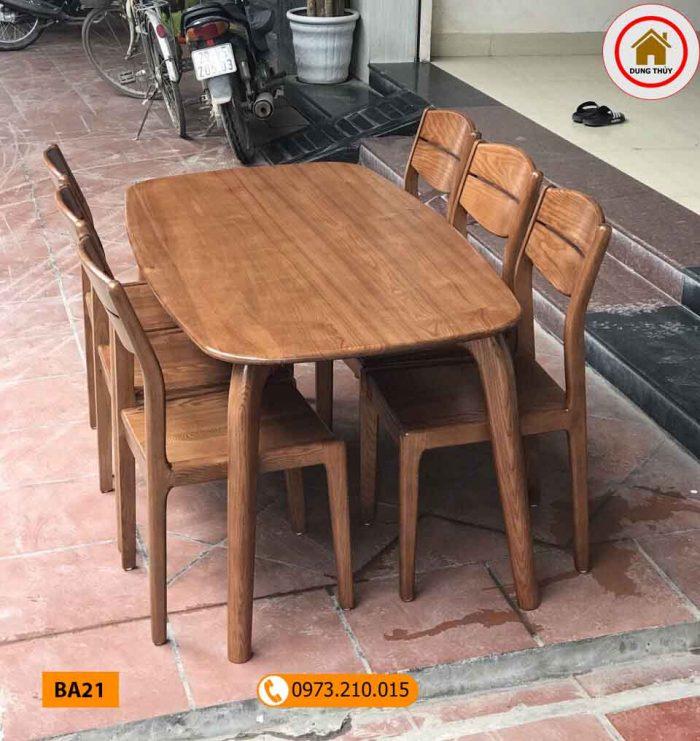 Bộ bàn ăn 6 ghế gỗ sồi Nga mặt bầu dục 4 chân BA21