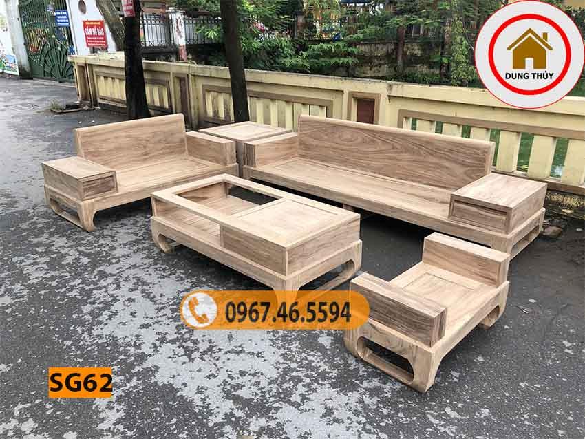 Bộ ghế sofa 2 văng chân quỳ gỗ hương xám SG62