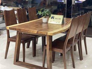 Bộ bàn ăn nguyên tấm 6 ghế bằng gỗ me tây BA18
