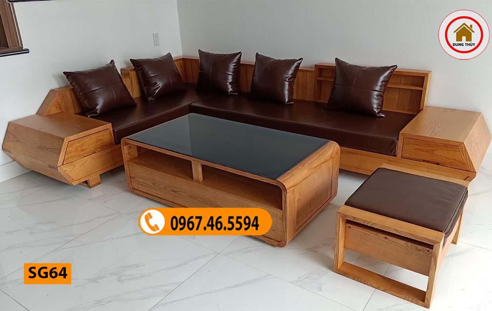 Bộ ghế sofa hộp tay vát 2 mặt gỗ sồi Nga SG64